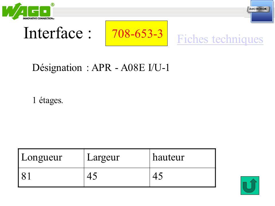 708-653-3 Désignation : APR - A08E I/U-1 Interface : 1 étages. LongueurLargeurhauteur 8145 Fiches techniques