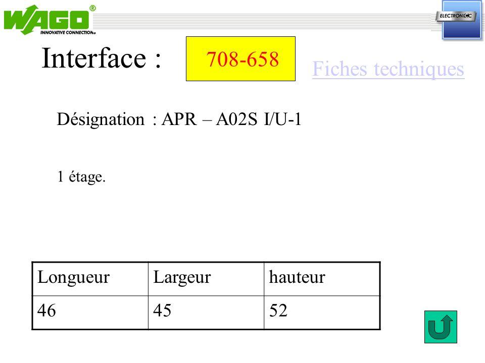 708-658 Désignation : APR – A02S I/U-1 Interface : 1 étage. LongueurLargeurhauteur 464552 Fiches techniques