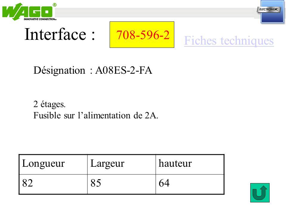 708-596-2 Désignation : A08ES-2-FA Interface : 2 étages. Fusible sur lalimentation de 2A. LongueurLargeurhauteur 828564 Fiches techniques