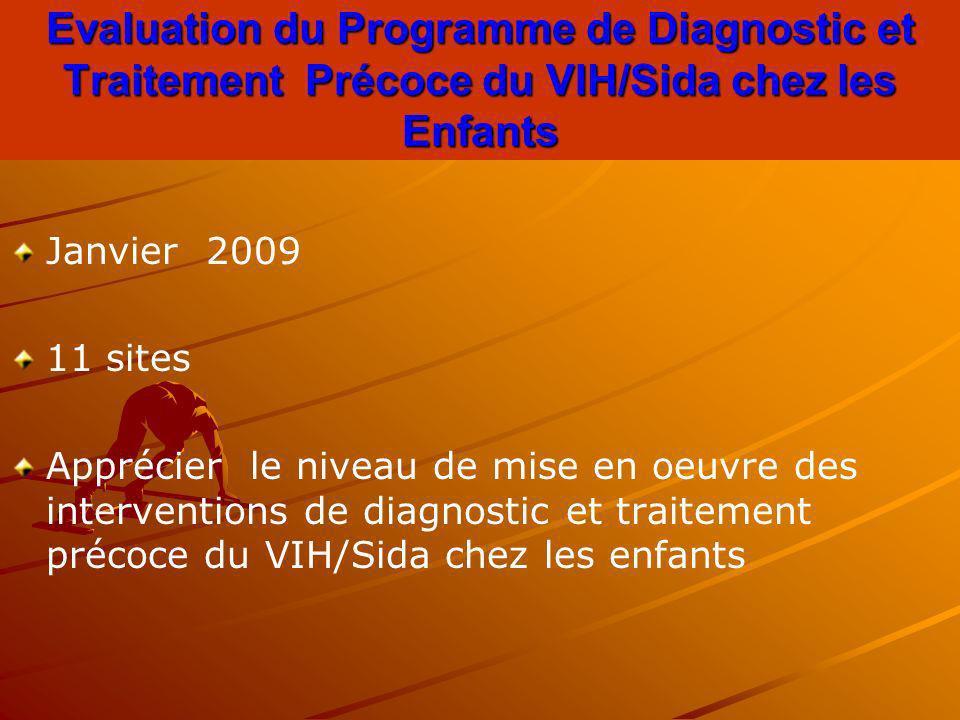 Evaluation du Programme de Diagnostic et Traitement Précoce du VIH/Sida chez les Enfants Janvier 2009 11 sites Apprécier le niveau de mise en oeuvre d
