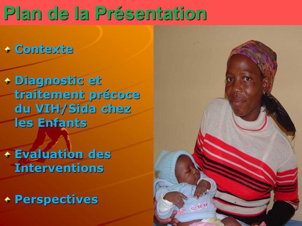 Plan de la Présentation Contexte Diagnostic et traitement précoce du VIH/Sida chez les Enfants Evaluation des Interventions Perspectives