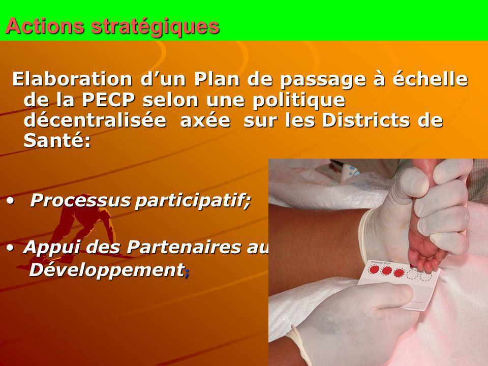 Actions stratégiques Elaboration dun Plan de passage à échelle de la PECP selon une politique décentralisée axée sur les Districts de Santé: Elaborati