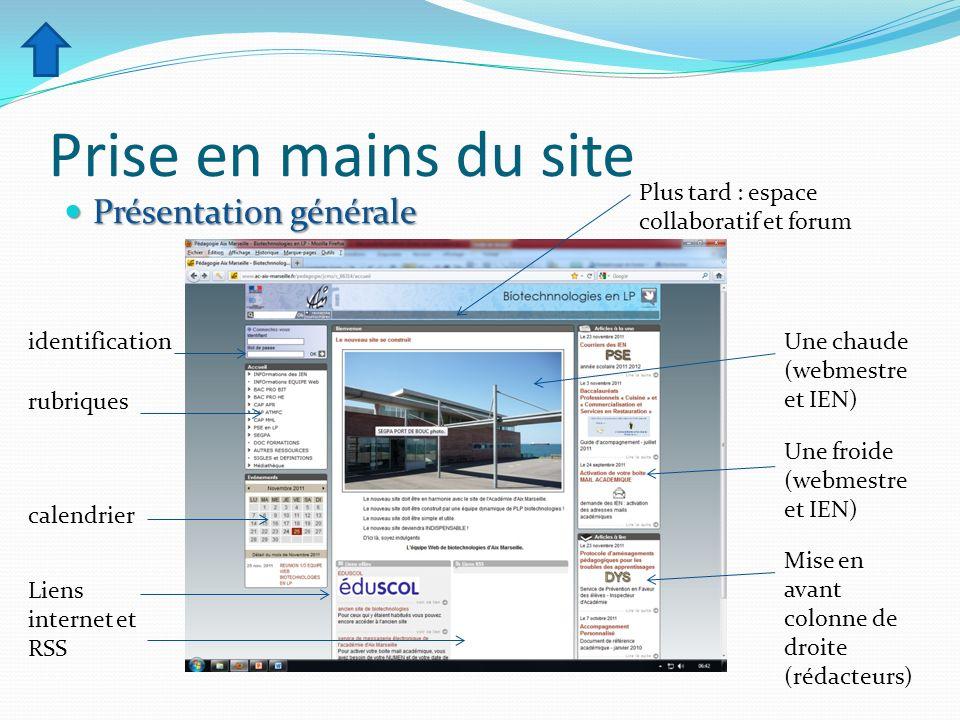 Prise en mains du site Présentation générale Présentation générale Plus tard : espace collaboratif et forum Une chaude (webmestre et IEN) Une froide (