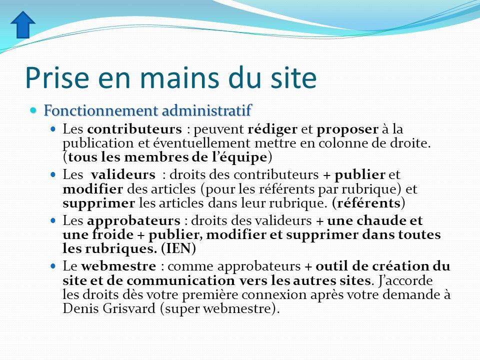 Prise en mains du site Fonctionnement administratif Fonctionnement administratif Les contributeurs : peuvent rédiger et proposer à la publication et é