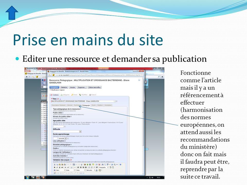 Prise en mains du site Editer une ressource et demander sa publication Fonctionne comme larticle mais il y a un référencement à effectuer (harmonisati