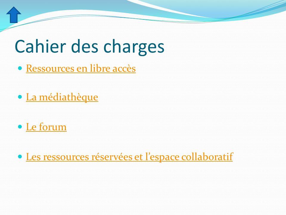 Cahier des charges Ressources en libre accès La médiathèque Le forum Les ressources réservées et lespace collaboratif