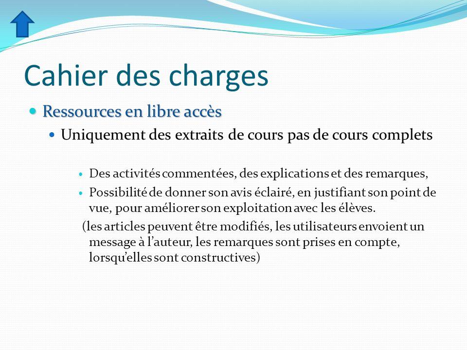 Cahier des charges Ressources en libre accès Ressources en libre accès Uniquement des extraits de cours pas de cours complets Des activités commentées