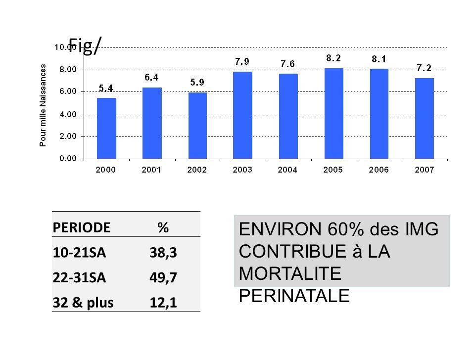 PERIODE% 10-21SA38,3 22-31SA49,7 32 & plus12,1 ENVIRON 60% des IMG CONTRIBUE à LA MORTALITE PERINATALE Fig/