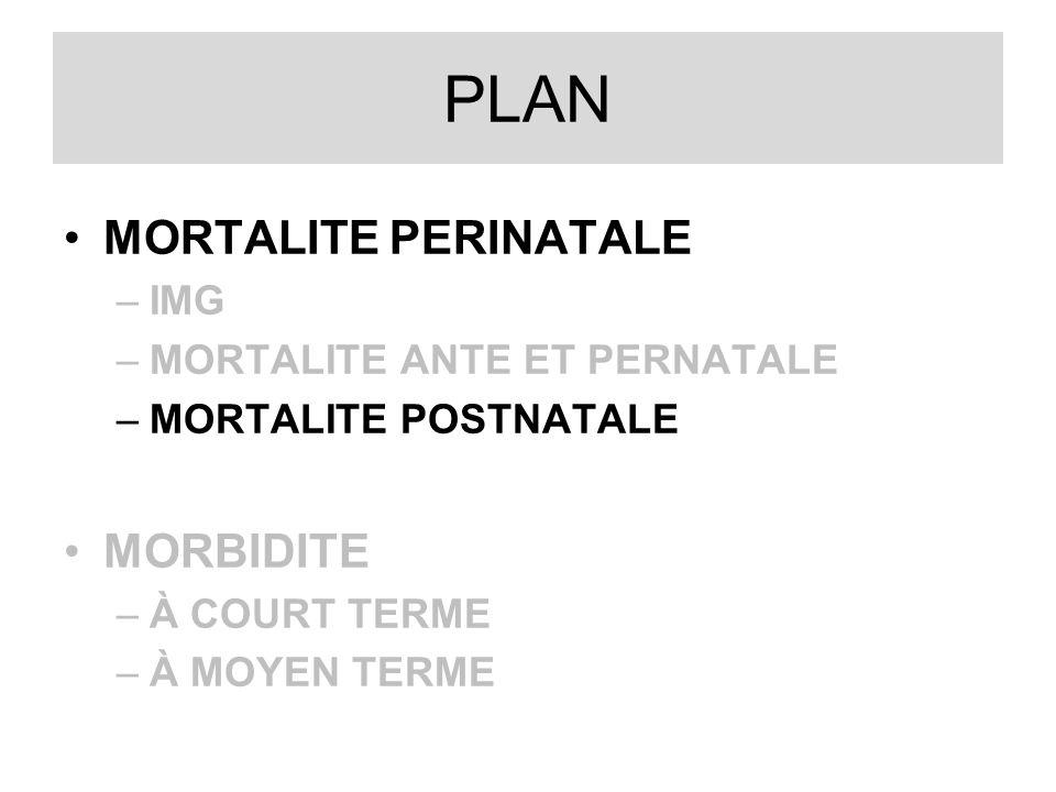 PLAN MORTALITE PERINATALE –IMG –MORTALITE ANTE ET PERNATALE –MORTALITE POSTNATALE MORBIDITE –À COURT TERME –À MOYEN TERME