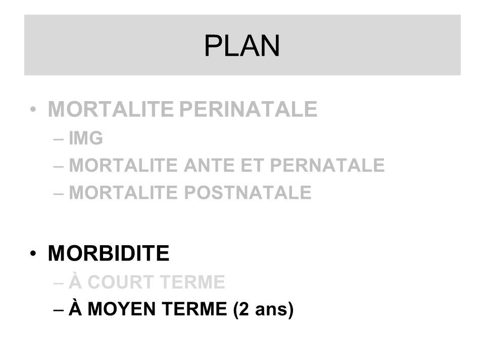 PLAN MORTALITE PERINATALE –IMG –MORTALITE ANTE ET PERNATALE –MORTALITE POSTNATALE MORBIDITE –À COURT TERME –À MOYEN TERME (2 ans)