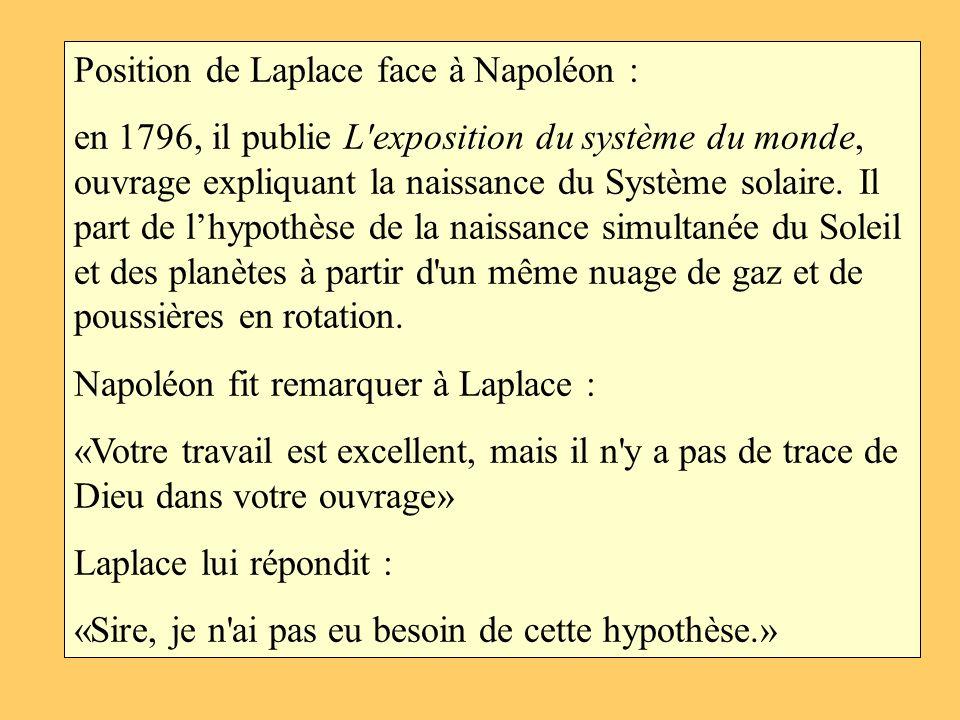 Position de Laplace face à Napoléon : en 1796, il publie L'exposition du système du monde, ouvrage expliquant la naissance du Système solaire. Il part