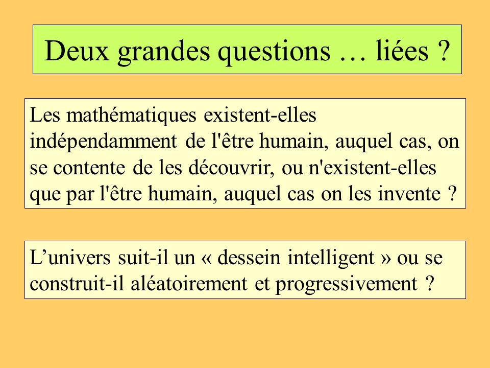 Deux grandes questions … liées ? Les mathématiques existent-elles indépendamment de l'être humain, auquel cas, on se contente de les découvrir, ou n'e