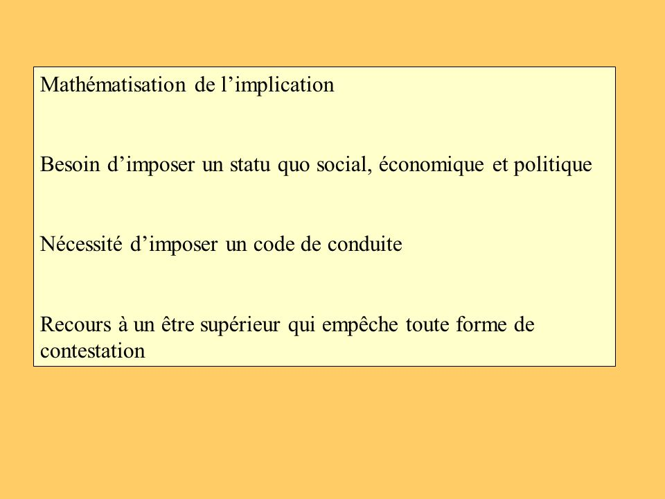 Mathématisation de limplication Besoin dimposer un statu quo social, économique et politique Nécessité dimposer un code de conduite Recours à un être