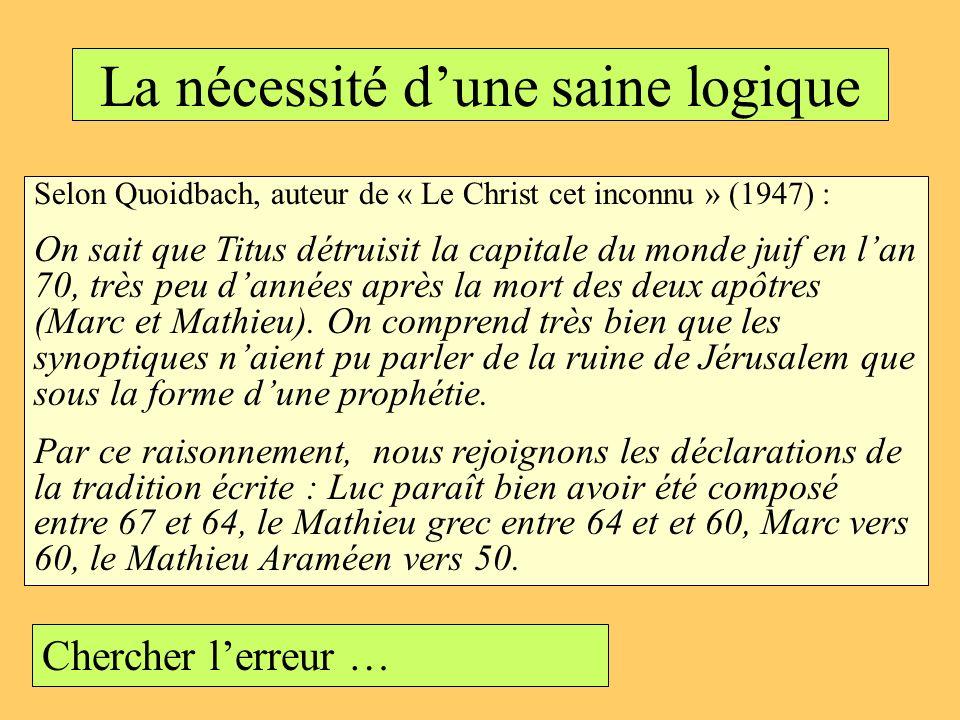 La nécessité dune saine logique Selon Quoidbach, auteur de « Le Christ cet inconnu » (1947) : On sait que Titus détruisit la capitale du monde juif en