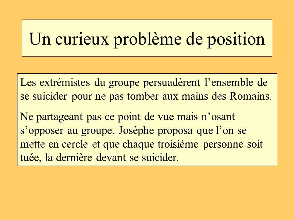 Un curieux problème de position Les extrémistes du groupe persuadèrent lensemble de se suicider pour ne pas tomber aux mains des Romains. Ne partagean