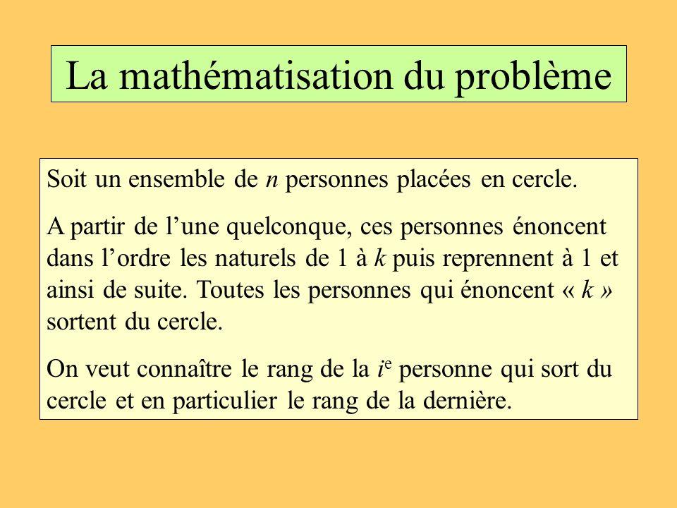 La mathématisation du problème Soit un ensemble de n personnes placées en cercle. A partir de lune quelconque, ces personnes énoncent dans lordre les