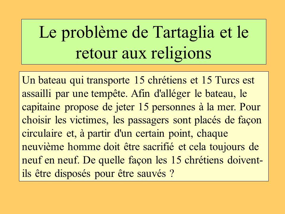 Le problème de Tartaglia et le retour aux religions Un bateau qui transporte 15 chrétiens et 15 Turcs est assailli par une tempête. Afin d'alléger le