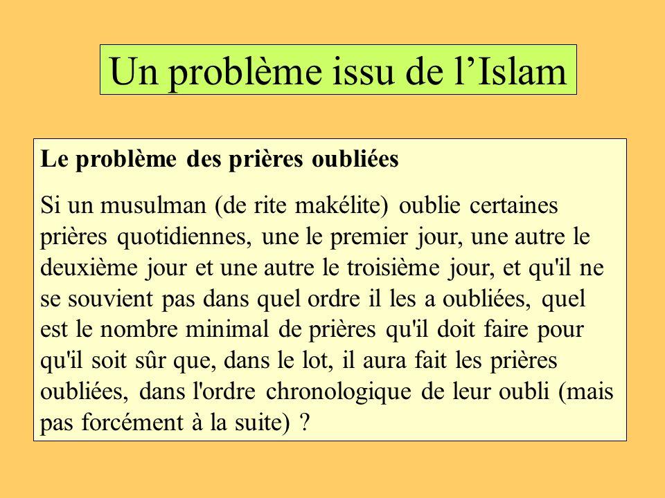 Un problème issu de lIslam Le problème des prières oubliées Si un musulman (de rite makélite) oublie certaines prières quotidiennes, une le premier jo