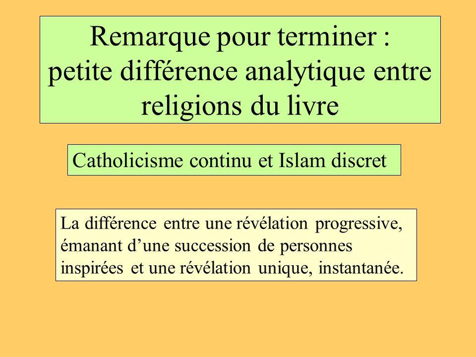 Remarque pour terminer : petite différence analytique entre religions du livre Catholicisme continu et Islam discret La différence entre une révélatio