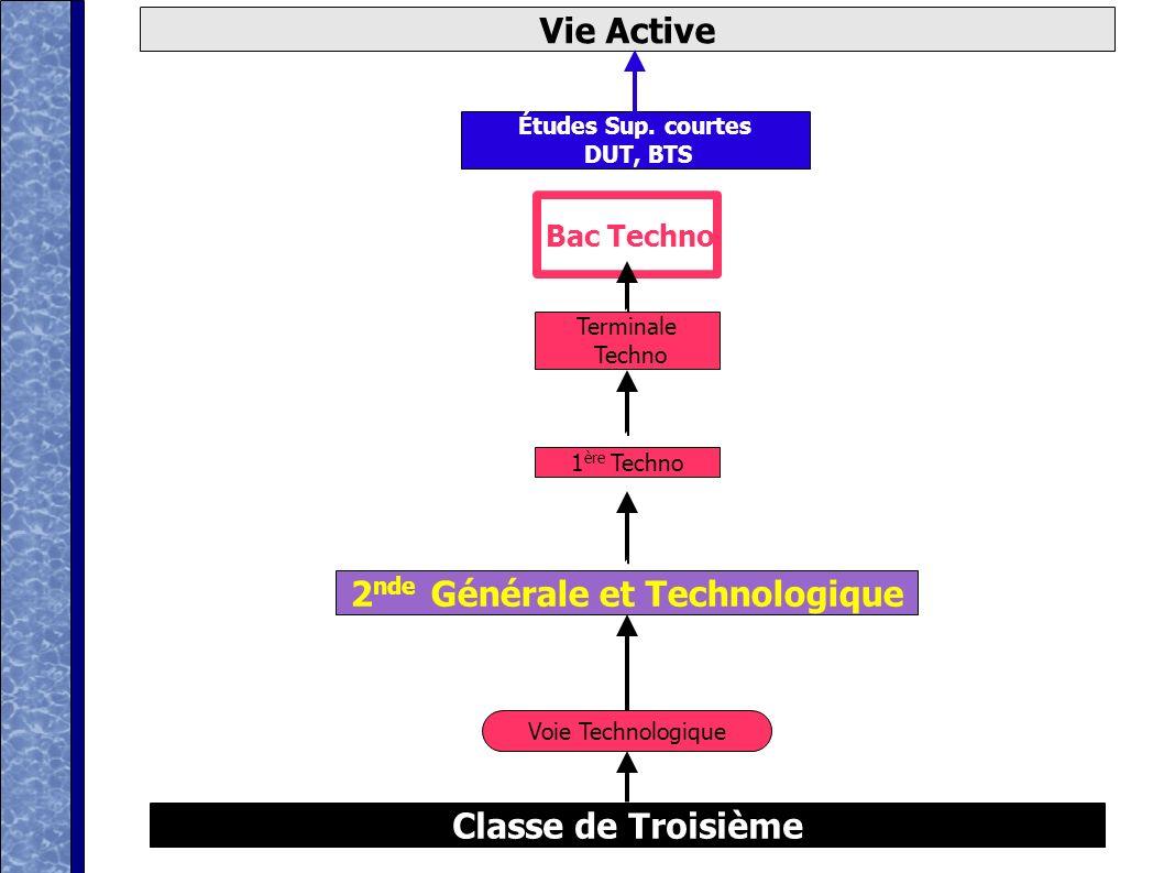 D après ONISEP Classe de Troisième Vie Active Voie générale Bac Général 2 nde Générale et Technologique 1 ère Générale Terminale Générale Études Sup.