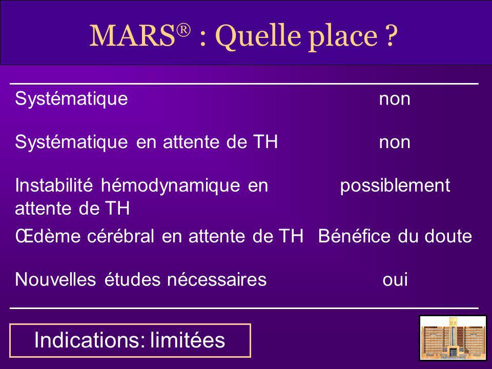 MARS : Quelle place ? Systématiquenon Systématique en attente de THnon Instabilité hémodynamique en attente de TH possiblement Œdème cérébral en atten
