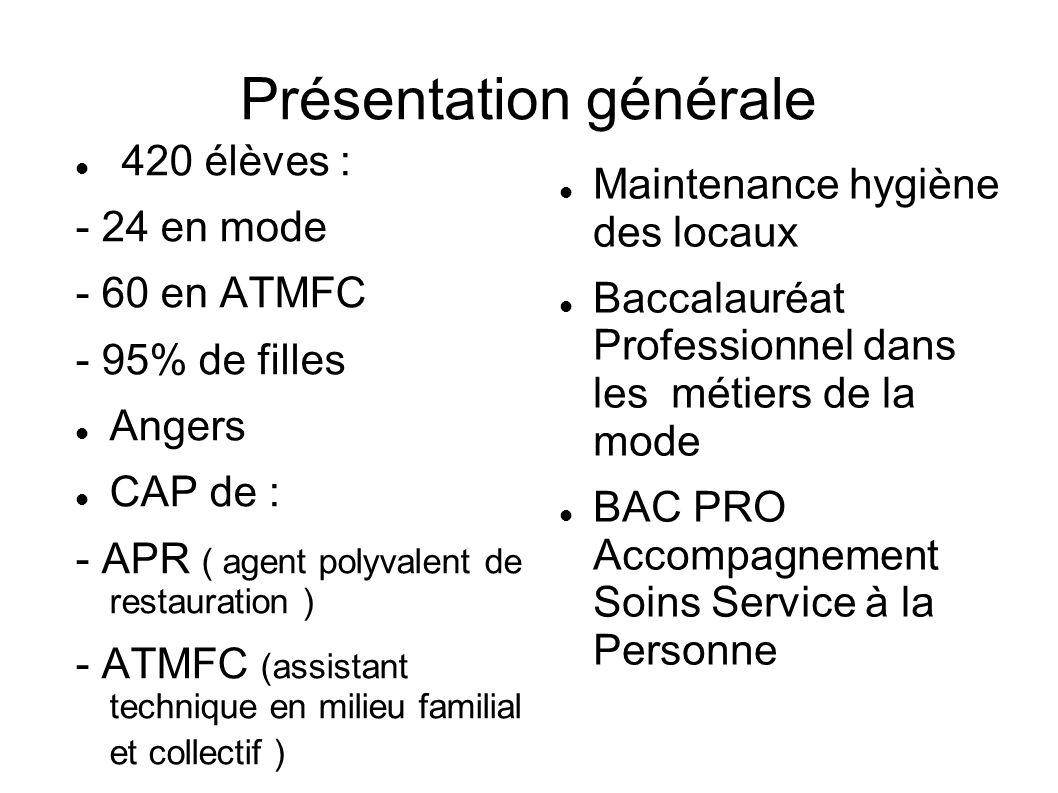 Présentation générale 420 élèves : - 24 en mode - 60 en ATMFC - 95% de filles Angers CAP de : - APR ( agent polyvalent de restauration ) - ATMFC (assi