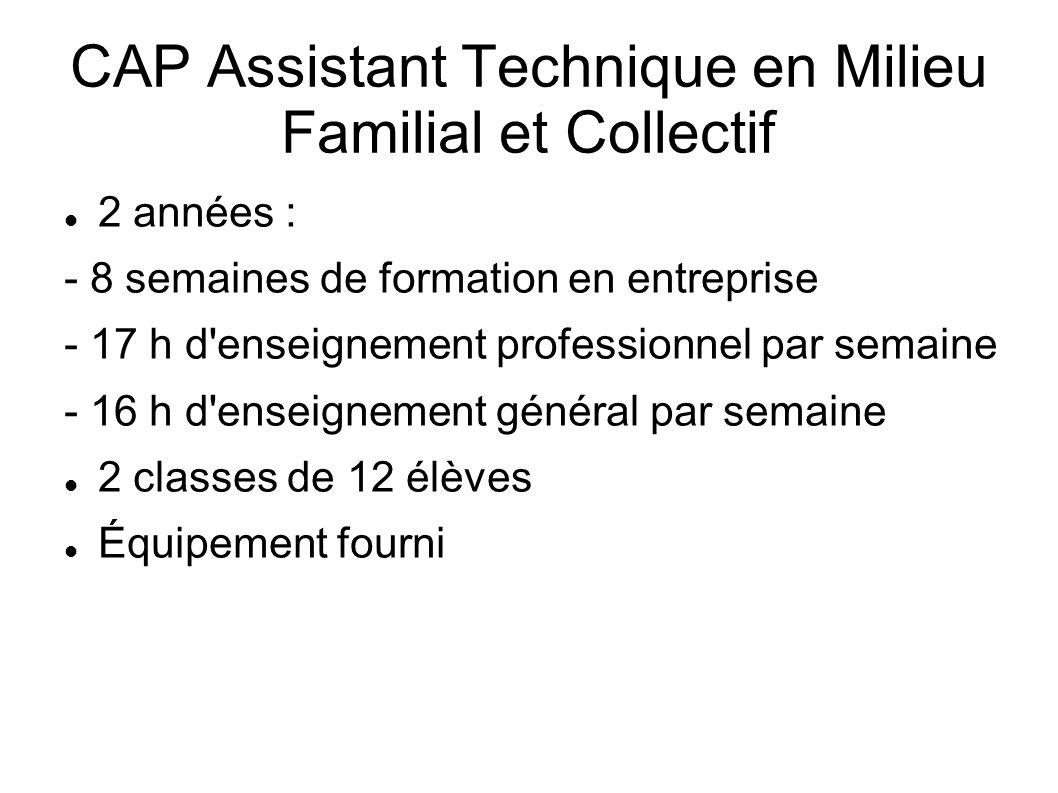 CAP Assistant Technique en Milieu Familial et Collectif 2 années : - 8 semaines de formation en entreprise - 17 h d'enseignement professionnel par sem