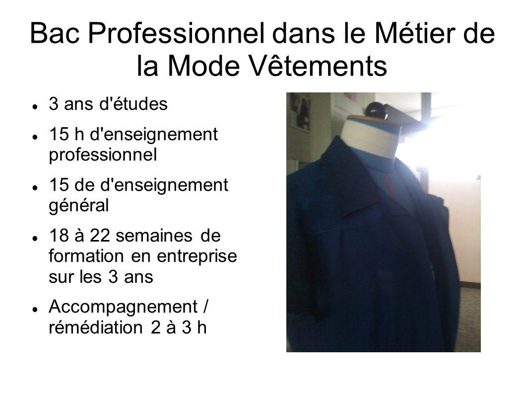 Bac Professionnel dans le Métier de la Mode Vêtements 3 ans d'études 15 h d'enseignement professionnel 15 de d'enseignement général 18 à 22 semaines d