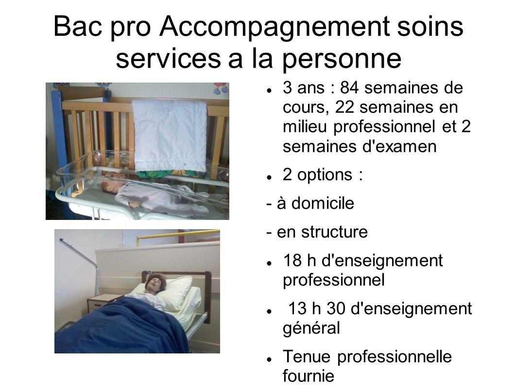 Bac pro Accompagnement soins services a la personne 3 ans : 84 semaines de cours, 22 semaines en milieu professionnel et 2 semaines d'examen 2 options
