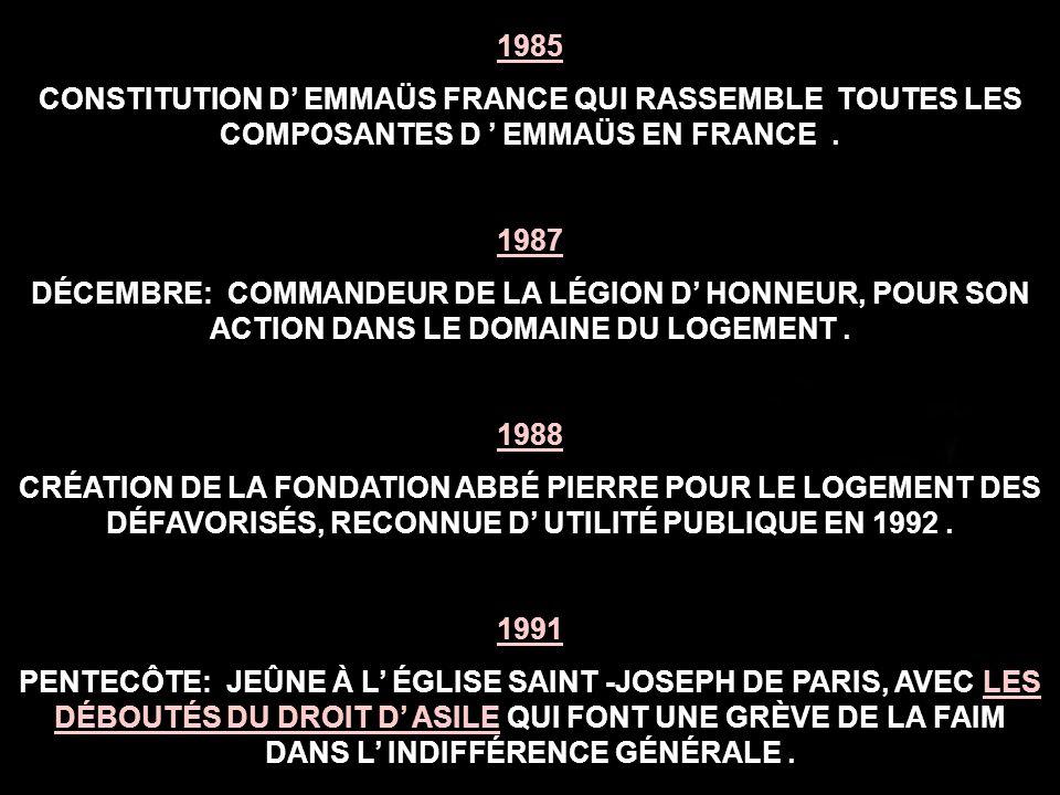 1969 PREMIÈRE ASSEMBLÉE GÉNÉRALE D EMMAÜS INTERNATIONAL À BERNE ( SUISSE), QUI ADOPTE LE MANIFESTE UNIVERSEL DU MOUVEMENT EMMAÜS.