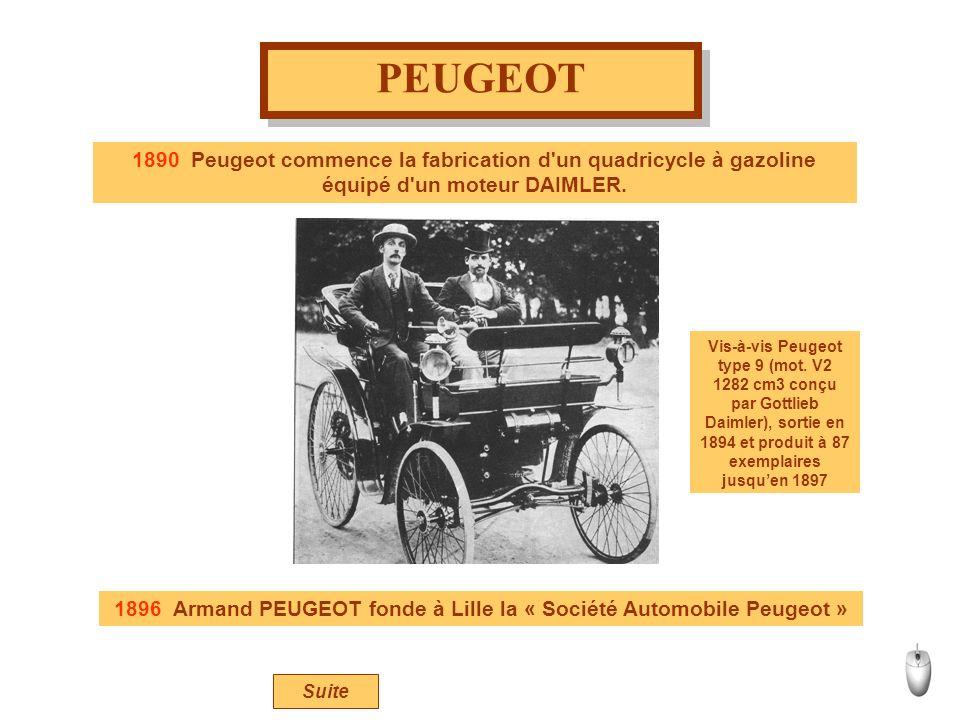 PEUGEOT 1890 Peugeot commence la fabrication d'un quadricycle à gazoline équipé d'un moteur DAIMLER. Vis-à-vis Peugeot type 9 (mot. V2 1282 cm3 conçu