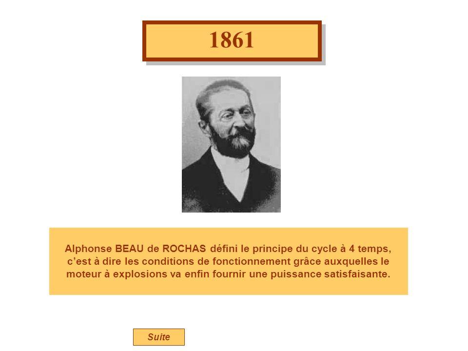 1861 Alphonse BEAU de ROCHAS défini le principe du cycle à 4 temps, cest à dire les conditions de fonctionnement grâce auxquelles le moteur à explosions va enfin fournir une puissance satisfaisante.