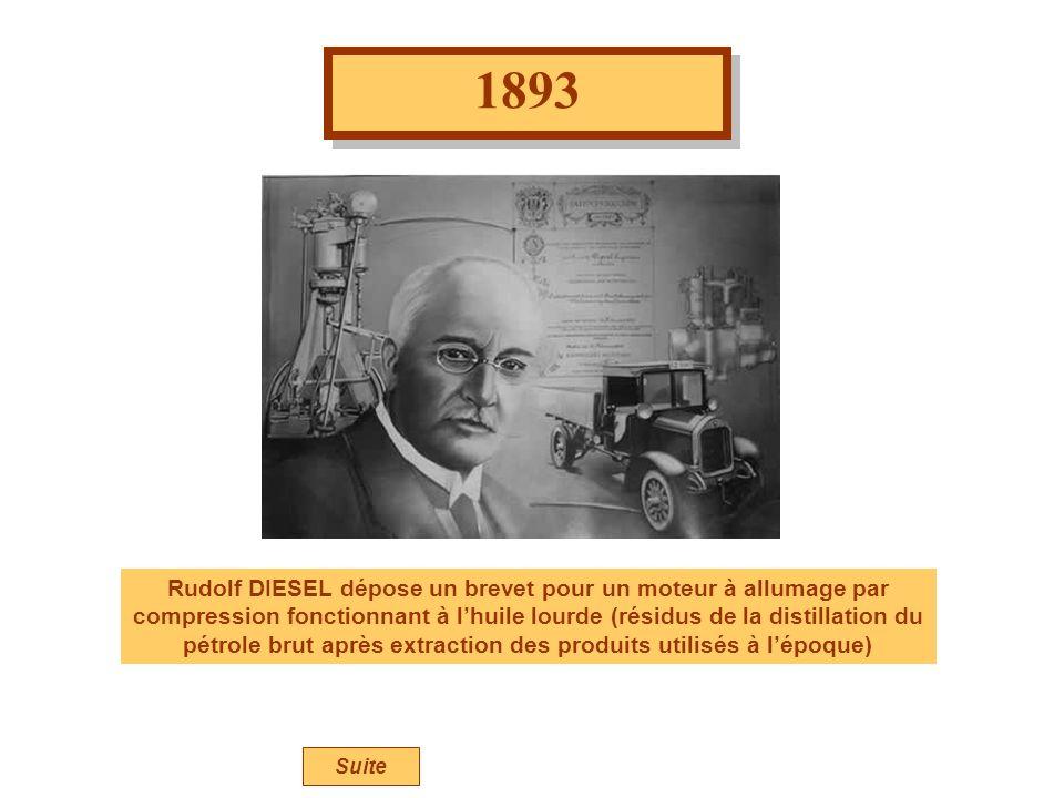 1893 Rudolf DIESEL dépose un brevet pour un moteur à allumage par compression fonctionnant à lhuile lourde (résidus de la distillation du pétrole brut après extraction des produits utilisés à lépoque) Suite