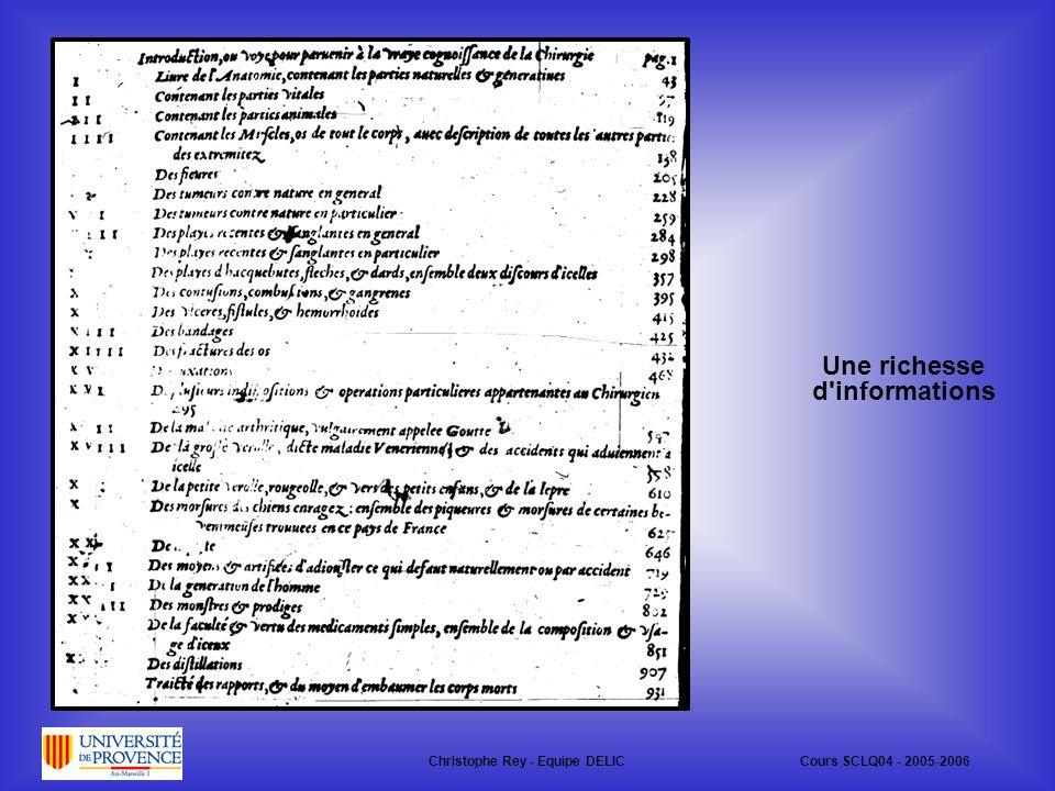 Une richesse d informations Christophe Rey - Equipe DELICCours SCLQ04 - 2005-2006