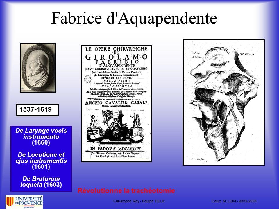 Fabrice d Aquapendente 1537-1619 Révolutionne la trachéotomie De Larynge vocis instrumento (1660) De Locutione et ejus instrumentis (1601) De Brutorum loquela (1603) Christophe Rey - Equipe DELICCours SCLQ04 - 2005-2006