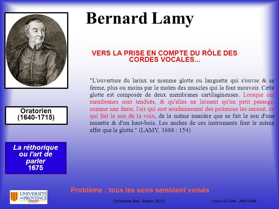 Bernard Lamy Oratorien (1640-1715) L ouverture du larinx se nomme glotte ou languette qui s ouvre & se ferme, plus ou moins par le moïen des muscles qui la font mouvoir.