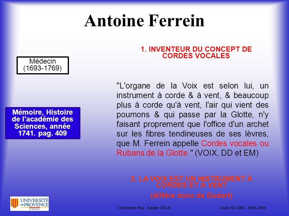 Antoine Ferrein Mémoire, Histoire de l académie des Sciences, année 1741.