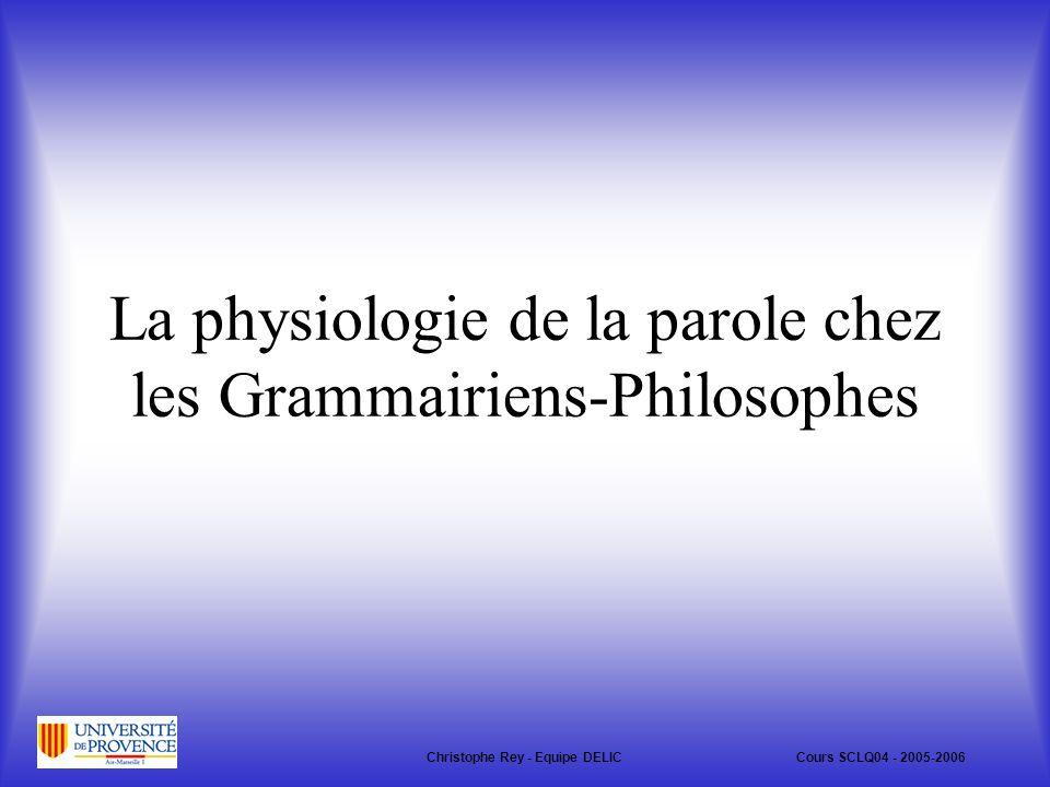 La physiologie de la parole chez les Grammairiens-Philosophes Christophe Rey - Equipe DELICCours SCLQ04 - 2005-2006