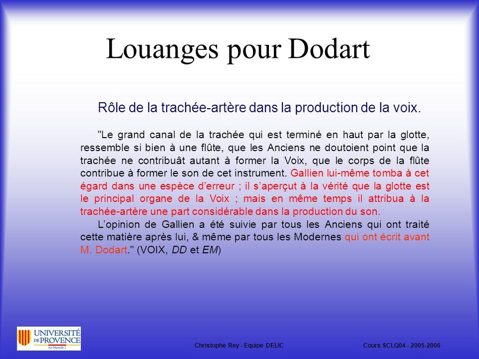 Louanges pour Dodart Rôle de la trachée-artère dans la production de la voix.