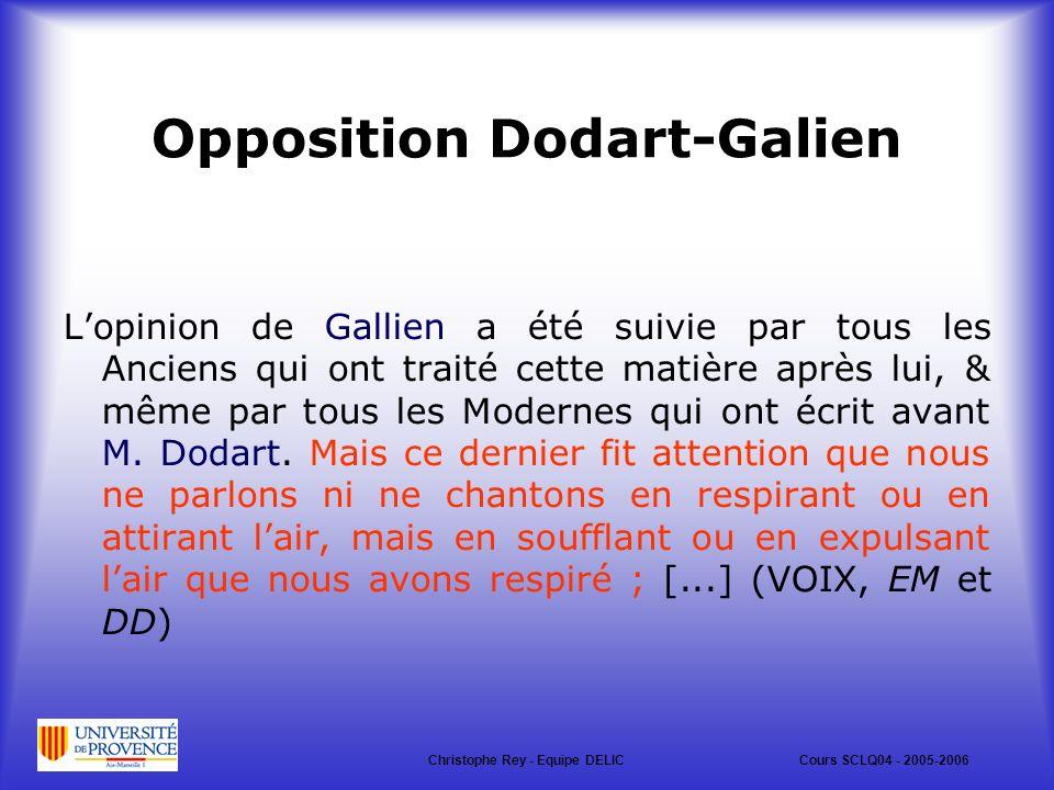 Opposition Dodart-Galien Lopinion de Gallien a été suivie par tous les Anciens qui ont traité cette matière après lui, & même par tous les Modernes qui ont écrit avant M.