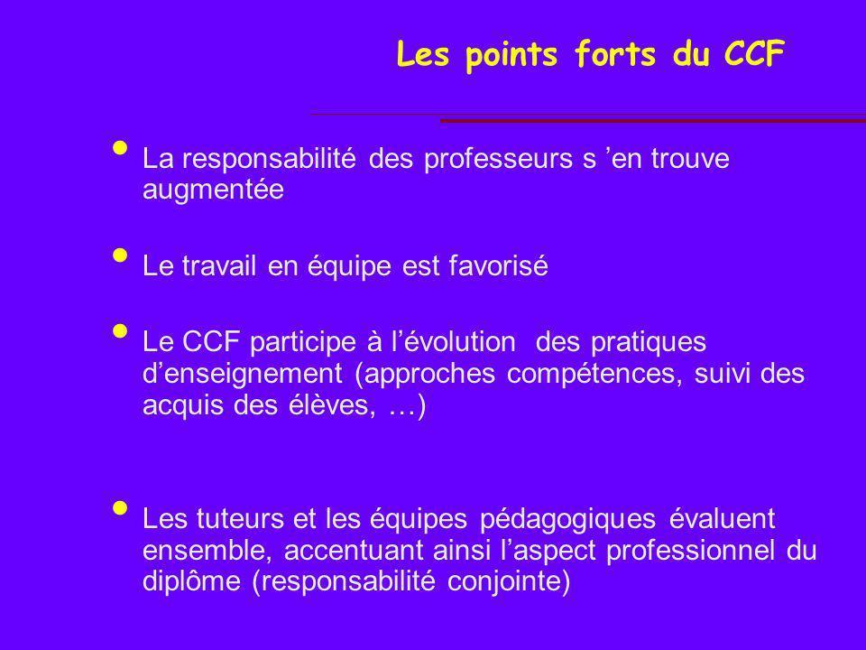 Les points faibles du CCF La difficulté dharmonisation et de régulation de pratiques dévaluation Lévaluation par CCF nécessite des compétences denseignement élevées.