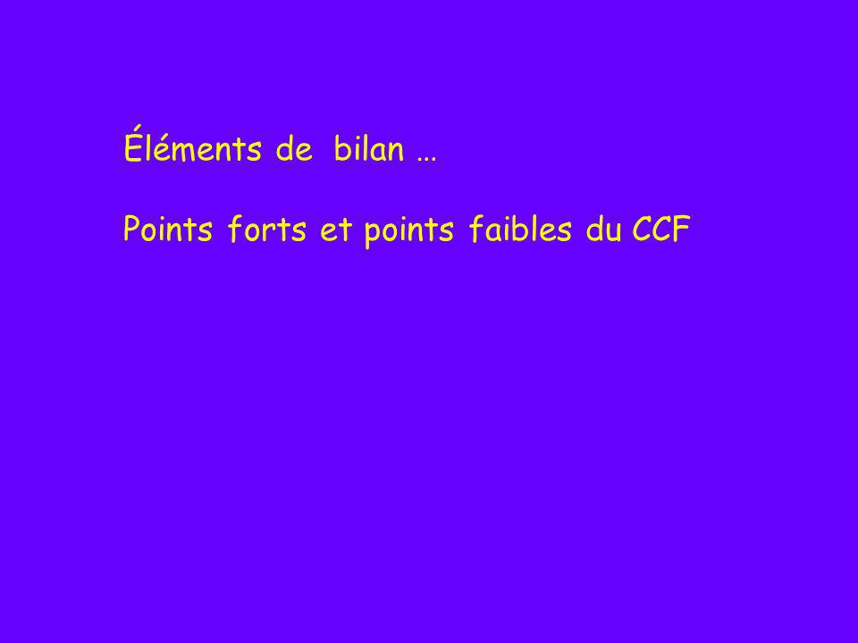 Éléments de bilan … Points forts et points faibles du CCF