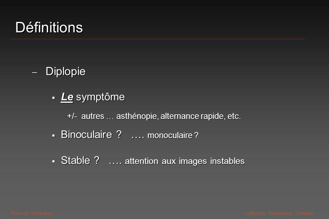 Post-op VerticauxLaRoche, Dalhousie, Canada Définitions – Diplopie Le symptôme Le symptôme +/- autres … asthénopie, alternance rapide, etc. Binoculair