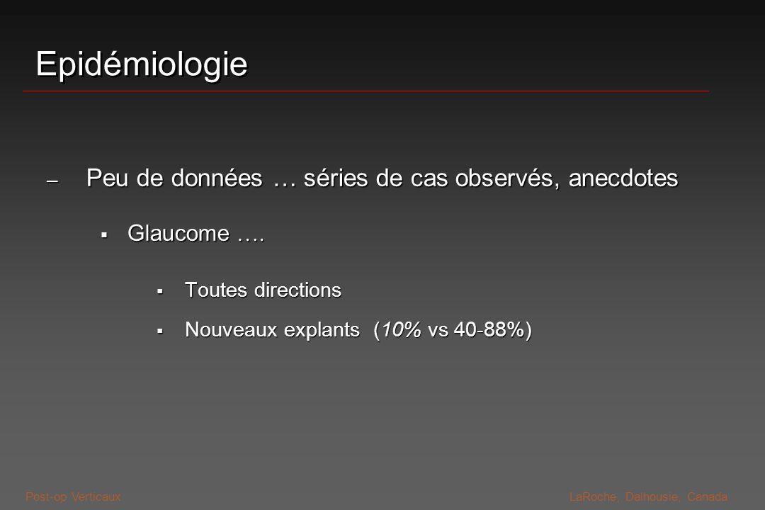 Post-op VerticauxLaRoche, Dalhousie, Canada Epidémiologie – Peu de données … séries de cas observés, anecdotes Glaucome …. Glaucome …. Toutes directio