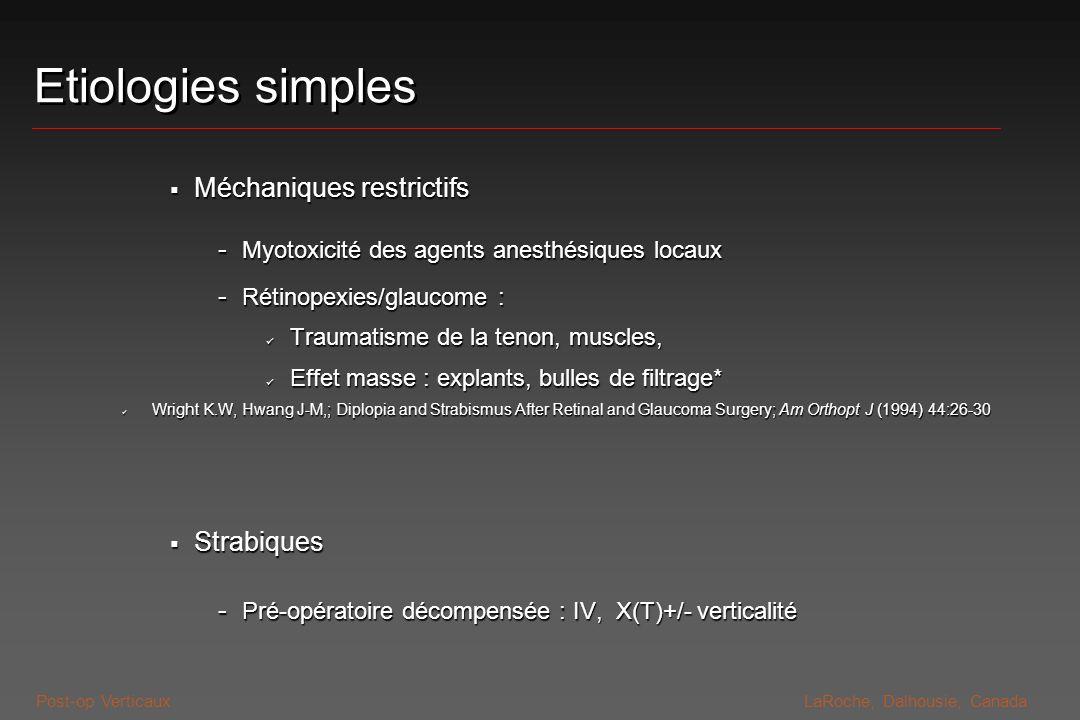 Post-op VerticauxLaRoche, Dalhousie, Canada Etiologies simples Méchaniques restrictifs Méchaniques restrictifs - Myotoxicité des agents anesthésiques