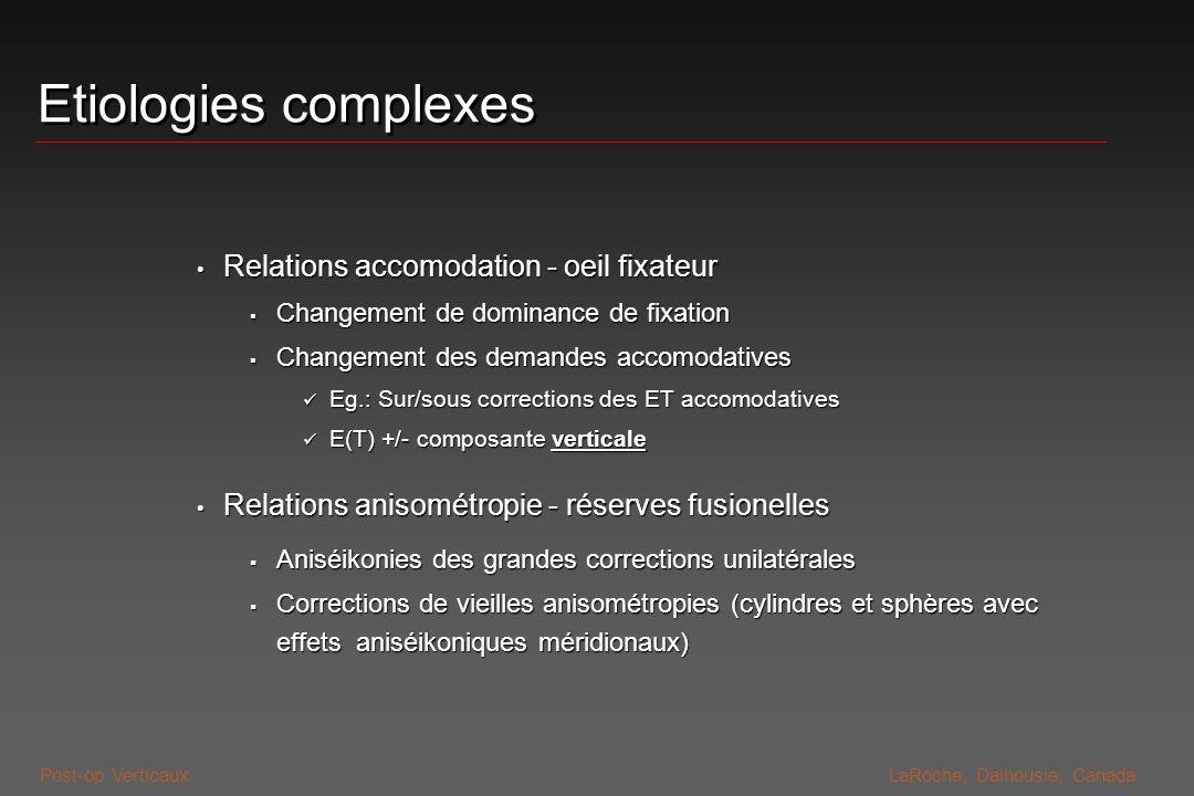 Post-op VerticauxLaRoche, Dalhousie, Canada Etiologies complexes Relations accomodation - oeil fixateur Relations accomodation - oeil fixateur Changem