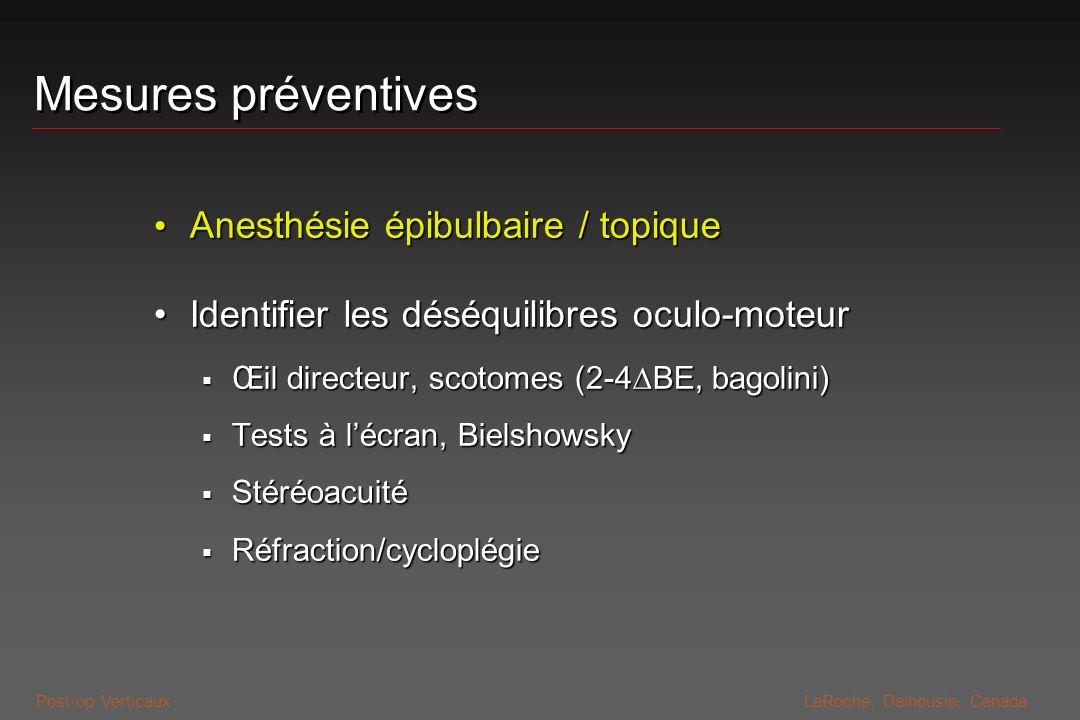 Post-op VerticauxLaRoche, Dalhousie, Canada Mesures préventives Anesthésie épibulbaire / topique Anesthésie épibulbaire / topique Identifier les déséq