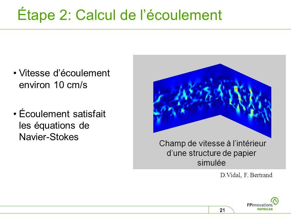 21 Étape 2: Calcul de lécoulement D.Vidal, F. Bertrand Champ de vitesse à lintérieur dune structure de papier simulée Vitesse découlement environ 10 c