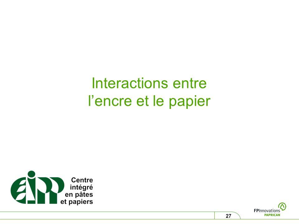 27 Interactions entre lencre et le papier