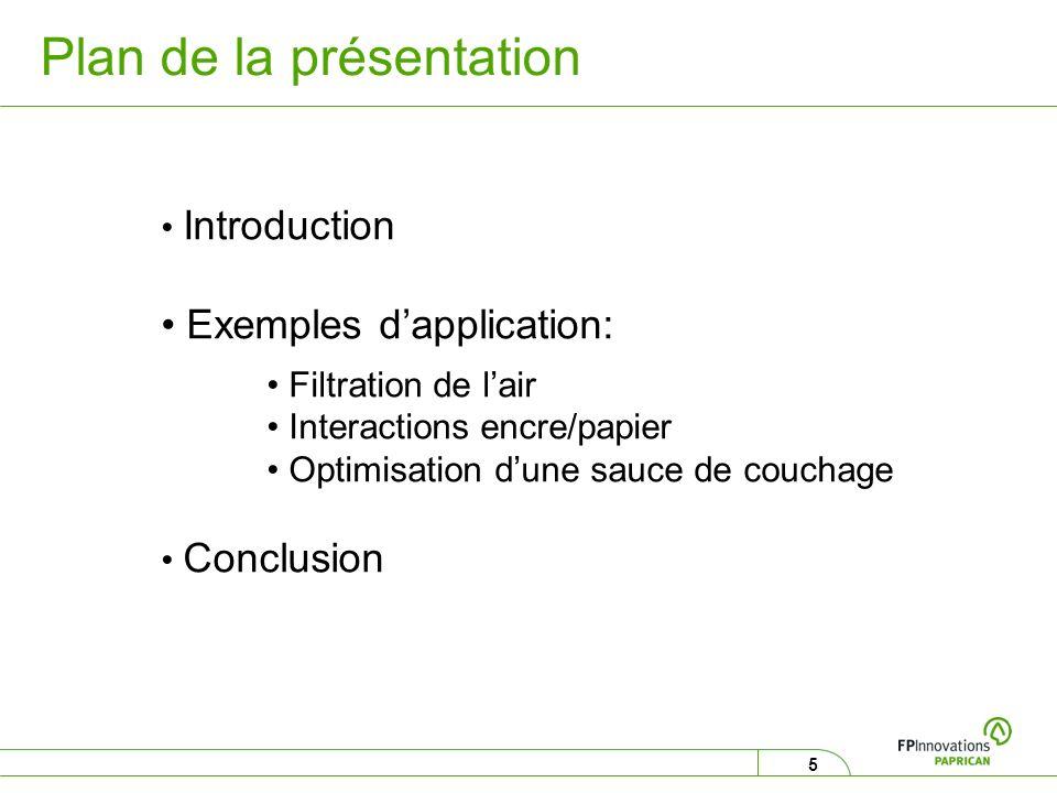 5 Plan de la présentation Introduction Exemples dapplication: Filtration de lair Interactions encre/papier Optimisation dune sauce de couchage Conclus